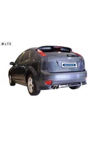 Ford Focus 2 Schrägheck u. Fließheck und Ford C-Max Benzin- u. Dieselmodelle ohne Rußpartikelfilter  BASTUCK Racing Komplettanlage ab Kat. rechts links je 2 x 76mm eingerollt schräg (AnschlussØ 63mm)