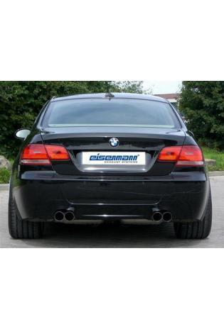 BMW 335i u. 335d  E92 Coupe und E93 Cabrio EISENMANN Duplex Sportauspuff rechts links je 2 x 76mm gerade poliert in hartverchromter Ausführung