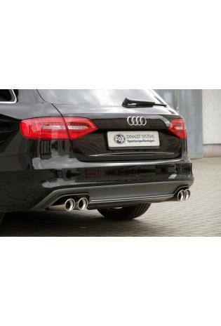FOX Sportauspuff Audi A4 B8 Lim. Avant inkl. S-Line Frontantrieb Quattro 2.0l rechts links je 2 x 90mm abgeschrägt (RohrØ 2 x 63.5mm)