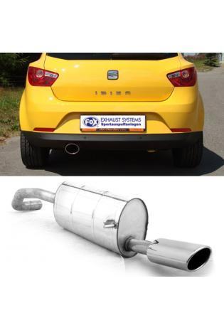 FOX Sportauspuff Seat Ibiza 6J ab Bj. 08 1.2l  1.4l  1.6l u. Diesel 115x85mm oval eingerollt abgeschrägt ohne Absorber (RohrØ 55mm)