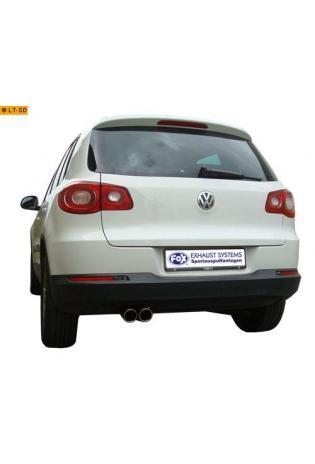 VW Tiguan ab Bj. 07 1.4 TSI 2.0 TSI FOX Komplettanlage ab Kat. 2 x 90mm eingerollt abgeschrägt mit Absorber (RohrØ 63.5mm)