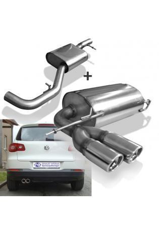 VW Tiguan ab Bj. 07 1.4 TSI 2.0 TSI FOX Komplettanlage ab Kat. 2 x 80mm schräg (RohrØ 63.5mm)