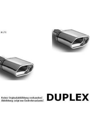 Ulter Duplex Sportauspuff 1 x 145x75mm flachoval eingerollt rechts-links - Audi A3 8P Sportback ab Bj. 04 1.6l bis 2.0l FSI und 1.6 TDI bis 2.0 TDI