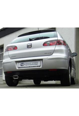FOX Komplettanlage ab Kat. Seat Ibiza 6L 1.2l  1.4l  1.6l  1.4l TDI  1.9l SDI  1.9l TDI (Modelle ohne Stoßstangenausschnitt) - 135x80mm flachoval eingerollt abgeschrägt mit Absorber