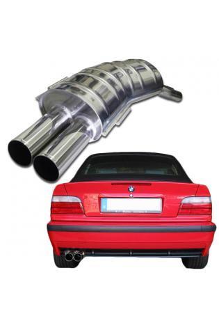 EISENMANN Sportauspuff Endschalldämpfer Edelstahl BMW E36 - 2 x 76mm gerade poliert - RACE-Version