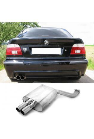 EISENMANN Sportauspuff Endschalldämpfer Edelstahl BMW E39 535i  540i Limousine mit Serien-Heckschürze - 2 x 76mm gerade poliert - RACE-Version