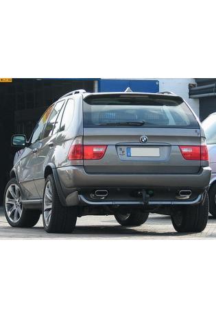 EISENMANN Sportauspuff Duplex Endschalldämpfer Edelstahl BMW X5 E53 3.0l  4.4l - rechts links je 160x80mm flachoval eingerollt abgeschrägt - RACE-Version