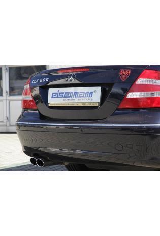 EISENMANN Sportauspuff Endschalldämpfer Edelstahl Mercedes Benz W209 Cabrio - 2 x 90x70mm rundoval eingerollt abgeschrägt - RACE-Version
