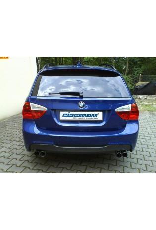 EISENMANN Sportauspuff Duplex Endschalldämpfer Edelstahl BMW E90 Limousine und E91 Touring 330i  330xi - recht links je 2 x 70mm gerade poliert hartverchromt - RACE-Version