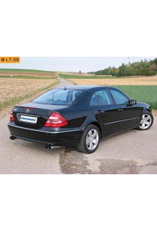 EISENMANN Sportauspuff Duplex Endschalldämpfer Edelstahl Mercedes Benz Limousine E200K  E240  E320  E500 - rechts links je 2 x 83mm abgeschrägt hartverchromt - RACE-Version