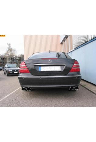 EISENMANN Sportauspuff Duplex Endschalldämpfer Edelstahl Mercedes Benz Limousine E200K  E240  E320  E500 - rechts links je 2 x 90x70mm rundoval abgeschrägt eingerollt hartverchromt - RACE-Version