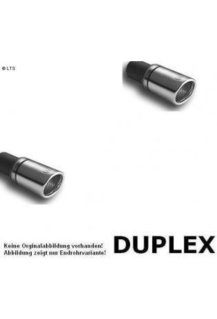 Ulter Duplex Sportauspuff 1 x 90mm eingerollt rechts-links - Dacia Logan Limousine ab Bj 05 1.4 bis 1.6 und 1.5 dCi