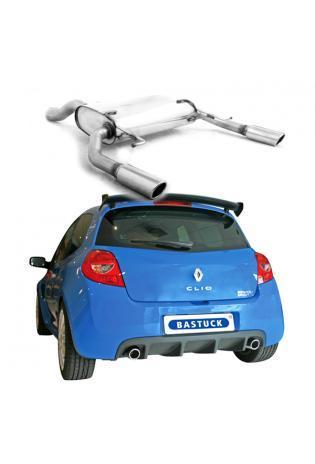 BASTUCK Sportauspuff rechts links je 1 x 76mm eingerollt schräg Renault Clio 3 RS ab Bj. 05 2.0l 16V