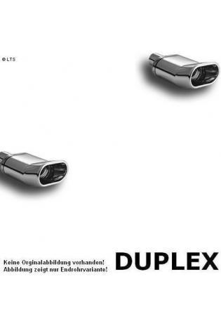Ulter Duplex Sportauspuff 1 x 140x70mm DTM scharfkantig rechts-links - Mazda 323F, 323C, 323P ab 94 bis 98 1.5l