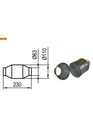 GESTEC Metall-Katalysator 100 Zellen Länge 230mm AnschlußØ 63mm KatØ 110mm unpoliert