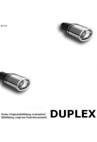 Ulter Duplex Sportauspuff 1 x 120x80mm eingerollt rechts-links - Peugeot 206 ab Bj. 98 bis 03 1.1l bis 1.6l