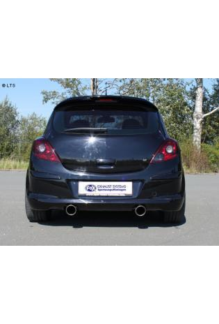 Opel Corsa D GSI ab Bj. 07 1.6l FOX Komplettanlage ab Kat rechts links je 1 x 100mm schräg (RohrØ 63.5mm)