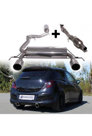 FOX Sportauspuff-Komplettanlage ab Turbo mit KAT Opel Corsa D GSI ab Bj. 07 1.6l  rechts links je 1 x 100mm schräg (RohrØ 63.5mm)