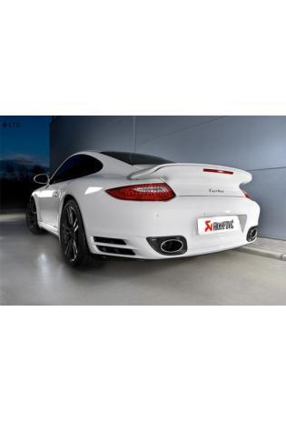 Akrapovic Sportauspuff Titan Endschalldämpfer inkl. Titan-Endrohren und Carbon-Heckverkleidungsblenden - Porsche 911 997 FL Turbo ab 10