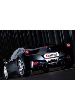 Akrapovic Sportauspuffanlage mit zwei Titan-Endschalldämpfer mit 3 Carbon-Endrohren inkl. Verbindungsrohre mit Sportkat. - Ferrari 458 Italia Bj. 10-11