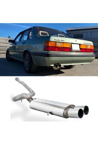FOX RACING Komplettanlage ab Kat. Audi 80/90 Typ 81 85 Limousine Coupe 1.3l bis 2.2l - 2 x 76mm ohne Absorber (AnschlussØ 63.5mm)