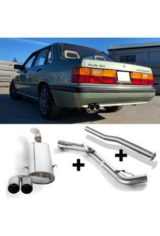 FOX RACING Komplettanlage (für Modelle ohne Kat.) Audi 80/90 Typ 81 85 Limousine Coupe 1.3l bis 2.2l - 2 x 76mm ohne Absorber (AnschlussØ 63.5mm)