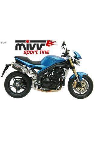 Mivv Sport-Line Oval High Up Carbon Schalldämpfer Slip on für TRIUMPH SPEED TRIPLE 1050 Bj. 05-06