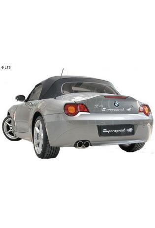 Supersprint Sportauspuff Endschalldämpfer inkl. Verbindungsrohr 2x80 rund Power-Loop - BMW E8 Z4 Roadster (RHD) 2.5i-3.0i ab Bj. 03 und 2.2i ab Bj. 04