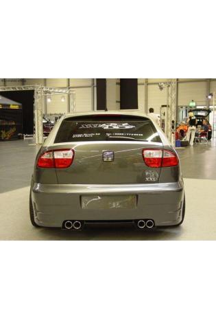 Gestec Sportauspuff Endschalldämpfer 2x80 mm rund. eingerollt rechts-links Seat Leon 1M 1.4l  1.6l  1.8l  1.9l TDI  1.9l SDI (ab Baujahr 1999) LT Neodesign Heckschürze