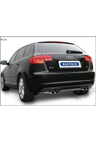 BASTUCK Heckschürzen-Einsatz Audi A3 8P Facelift inkl. Sportback ab Bj. 08 - Carbon Style mit Ausschnitt für Doppel-Endrohr rechts links