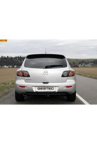 Einzelanfertigung Endschalldämpfer für Mazda 3 Typ BK - Endrohr oval eingerollt ohne Absorber