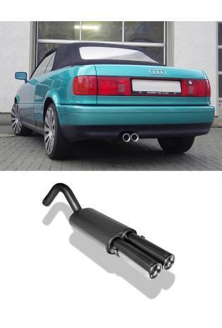 FOX Sportauspuff Audi 80 u. 90 Typ 89 1.6l bis 2.8l  1.6l D  1.6l TD  1.9l TD  2 x 76mm mit Absorber (AnschlussØ 63.5mm)