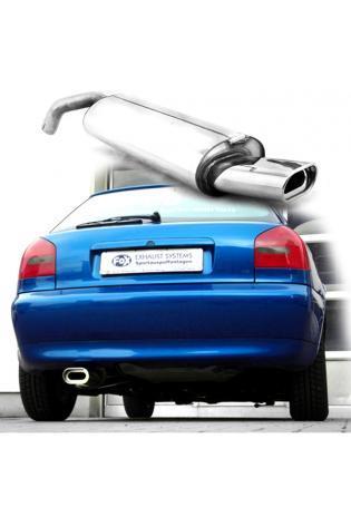 FOX Sportauspuff Endschalldämpfer Edelstahl Audi A3  1.6l  1.8l  1.8l T  1.9l TDI  1 ER 135x80mm flachoval  eingerollt  abgeschrägt  mit Absorber