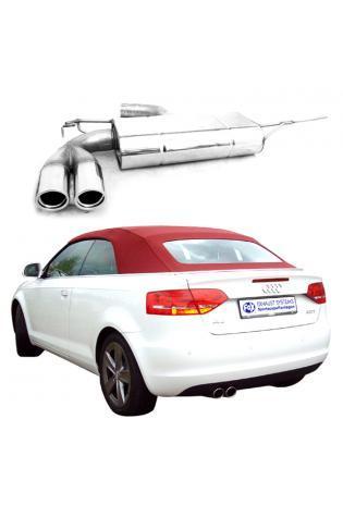 FOX Sportauspuff Audi A3 8P inkl. Cabrio 1.4l 1.8l 2.0l 2.0lTDI 2 ER 76mm  eingerollt  abgeschrägt  mit Absorber Ø70mm