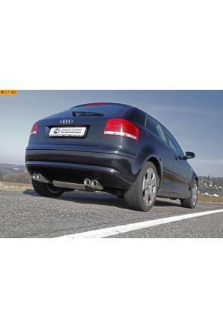 FOX Sportauspuff Audi A3 8P inkl. Cabrio 1.4l 1.8l 2.0l 2.0lTDI re/li je 2x76mm