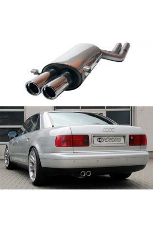 FOX Sportauspuff Endschalldämpfer Edelstahl Audi A8 - S8  4.2l  2 Endrohre: 76mm  eingerollt  abgeschrägt  mit Absorber Ø2x63,5mm