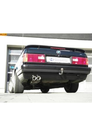 FOX Sportauspuff ab Kat. BMW ab 87  1.6l  1.8l (mit 3 Loch Flansch) nur für Modelle mit Kat  2 ER 76mm  eingerollt  gerade  mit Absorber  Edelstahl Endschalldämpfer
