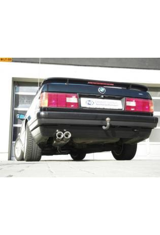 FOX Sportauspuff ab Kat. BMW E30 ab 87  1.6l  1.8l  (mit 2 Loch Flansch) nur für Modelle mit Kat  2 ER 76mm  eingerollt  gerade  mit Absorber