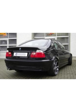 FOX Sportauspuff Endschalldämpfer Edelstahl BMW E46 Bj. 98-00  2.0l  2.5l  2.8l  2 ER 76mm  eingerollt  gerade  mit Absorber