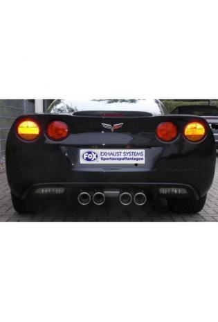 FOX Sportauspuff mittig 4 x 100mm abgeschrägt - Corvette C6 + Cabrio ab Bj. 04 6.0l
