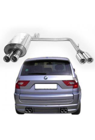 FOX Sportauspuff BMW X3 E83 2.5l 3.0l 2.0l D 3.0l D rechts links je 2x76mm mit Absorber
