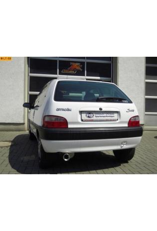 Citroen Saxo ab 96  1.0l  1.1l und Peugeot 106 Typ 1 u. 2 Sport Limousine 1.0l  1.1l FOX Sportauspuff  90mm eingerollt gerade mit Absorber (RohrØ 45mm)