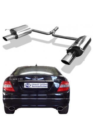 Fox Duplex Sportauspuff Mercedes C-Klasse W204 S204 C180 C200 C250 C180 CDI C200 CDI C220 CDI C250 CDI ab Bj. 07 (ohne AMG-Paket) rechts links je 1 x 115x85mm oval (RohrØ 63.5mm)