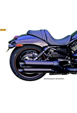 Remus Schalldämpfer  Slash cut slip on mit schwarzer Edelstahl Außenhülle unten/oben für HARLEY DAVIDSON VRSCR Street-Rod Bj. 05-07 und VRSCD Night-Rod ab Bj. 05 und VRSCDX Night-Rod Special ab Bj. 05