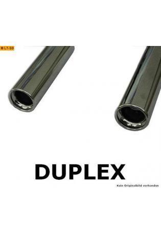 FOX Sportauspuff Duplex Endschalldämpfer Edelstahl quer Kia Cerato ab Bj.  04  rechts   links je 1 ER 90mm   eingerollt   gerade   mit Absorber