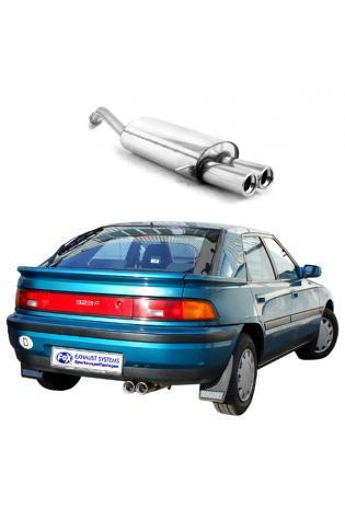 FOX Sportauspuff Endschalldämpfer Edelstahl Mazda 323 F - BG Fließheck Bj. 89-94 u. MX-3 (EC) 1.8l   2 ER 80mm   eingerollt   gerade   mit Absorber