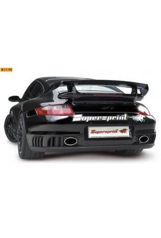 Supersprint Sportauspuff Race-Endschalldämpfer rechts-links 145x95 oval - Porsche 997 GT2 ab Bj. 08