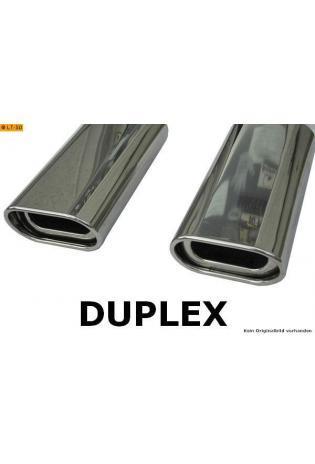 FOX Sportauspuff Duplex Endschalldämpfer Edelstahl Nissan Primera P11 Limousine Bj. 96-99  1.6l  1.8l  2.0l  2.0l TD  rechts  links je 1 ER 135x80mm  eingerollt  15 Grad abgeschrägt  mit Absorber