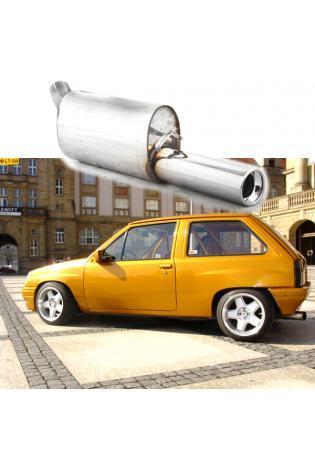 FOX Sportauspuff Endschalldämpfer Edelstahl Opel Corsa A-CC ab Bj. 83  1.2l  1.3l  1.4l  1.6l GSI  1 ER  90mm  eingerollt  gerade  mit Absorber