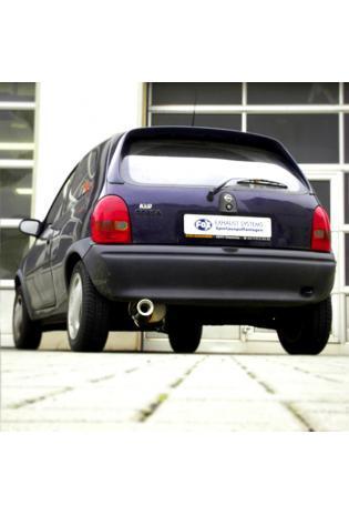 FOX Sportauspuff Endschalldämpfer Edelstahl Opel Corsa B ab Bj. 92  1.0l  1.2l  1.4l 1.6l  1.5l TD  1 ER  90mm  eingerollt  gerade  mit Absorber